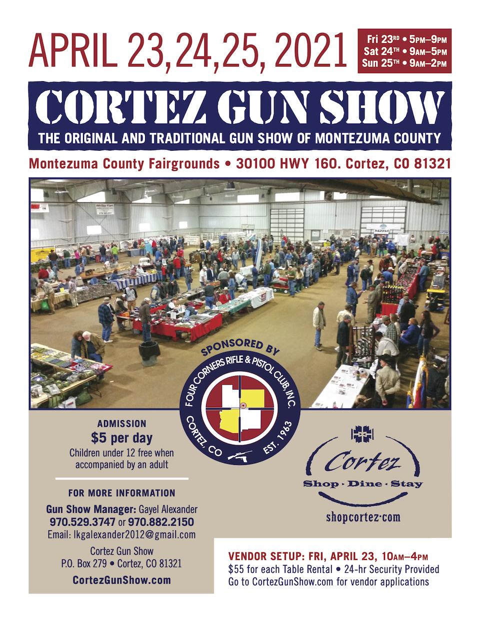 Cortez Gun Show April 23-25, 2021 flyer